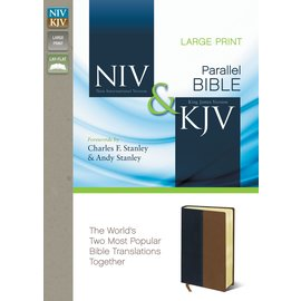 NIV/KJV Large Print Parallel Bible, Navy/Tan Leathersoft