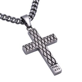 "Silver Diamond Back Cross Necklace: Christ My Strength 24"" Stainless Steel"