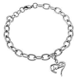 Handwriting Heart Bracelet: Be Still, Stainless Steel