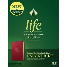 NLT Large Print Life Application Study Bible 3, Berry LeatherLike