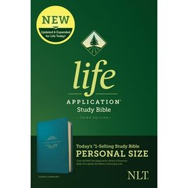 NLT Personal Size Life Application Study Bible 3, Teal Blue LeatherLike