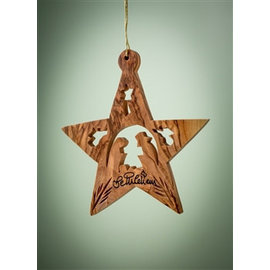 Ornament - Star w/Nativity & Angels, Olive Wood