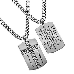 "Chain Cross Necklace:  Strength 24"" Stainless Steel"