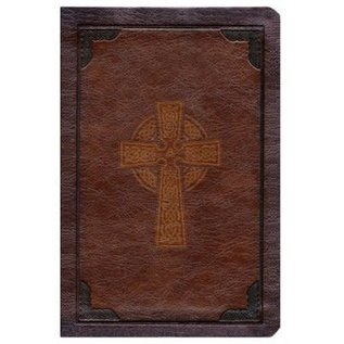 CSB Large Print Compact Reference Bible, Brown Celtic Cross LeatherTouch