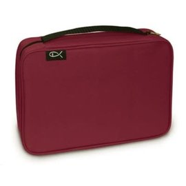 Bible Cover - Burgundy Canvas Compact
