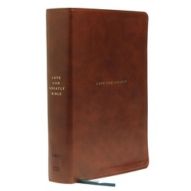 NET Love God Greatly Bible, Brown Leathersoft