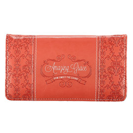 Checkbook Cover - Amazing Grace, Coral