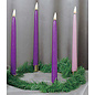 """Advent Wreath w/Gold Finish Ring & Greens + 10"""" x 7/8"""" Tapers (3 Purple & 1 Pink)"""