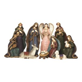 "Nativity Set - 10 Piece with Brocade Pattern, 7"", Resin"