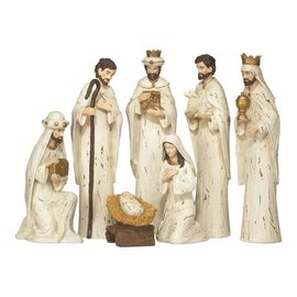 Nativity Set - 7 Piece Distressed Look, 11""