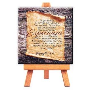 Mini Canvas - Salmos 91:1-2, 4 (9cm)