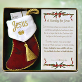 "Ornament - Stocking for Jesus w/Gift List (4.5"")"