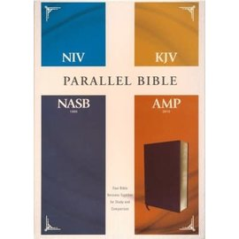 NIV/KJV/NASB/Amplified Parallel Bible, Burgundy Bonded Leather