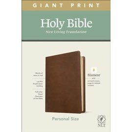 NLT Giant Print Personal Size Bible, Rustic Brown Leatherlike (Filament)