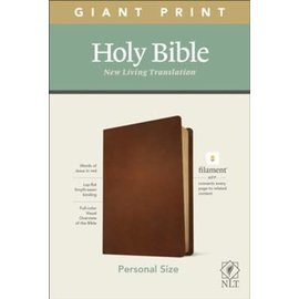 NLT Giant Print Personal Size Bible, Brown Genuine Leather (Filament)