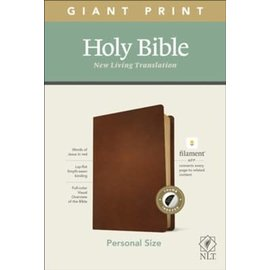 NLT Giant Print Personal Size Bible, Brown Genuine Leather, Indexed (Filament)