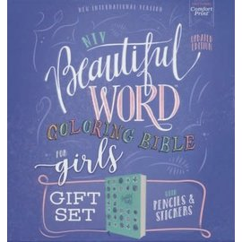 NIV Beautiful Word Coloring Bible for Girls Gift Set, Teal Leathersoft over Board