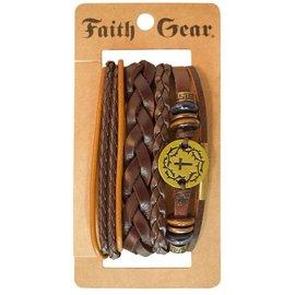 Bracelet - Faith Gear, Gold Crown Cross