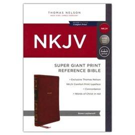 NKJV Super Giant Print Reference Bible, Brown Leathersoft