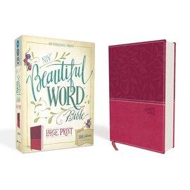 NIV Large Print Beautiful Word Bible, Pink Leathersoft