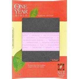 NLT One Year Slimline Bible, Gray/Pink TuTone