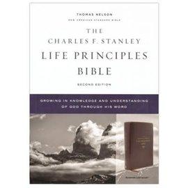 NASB Charles F. Stanley Life Principles Bible 2, Burgundy Leathersoft