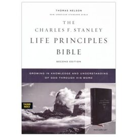 NASB Charles F. Stanley Life Principles Bible 2, Black Leathersoft, Indexed