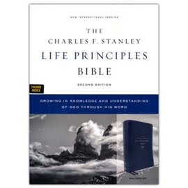 NIV Charles F. Stanley Life Principles Bible 2, Blue Leathersoft, Indexed