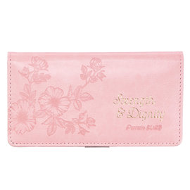 Checkbook Cover - Strength and Dignity, Pink