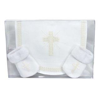 Baby Gift Set - Bib & Socks, Cross