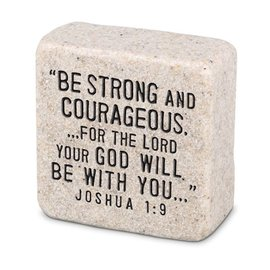 Decor Block - Be Strong and Courageous, Stone