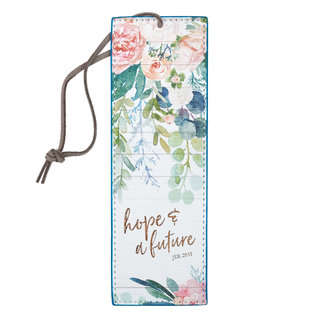 Bookmark - Hope and a Future, Floral Faux Leather