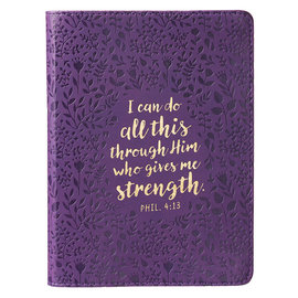 Journal - I Can Do All Things, Purple Faux Leather Handy-Size