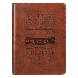 Journal - Strong and Courageous, Brown Faux Leather Handy Size