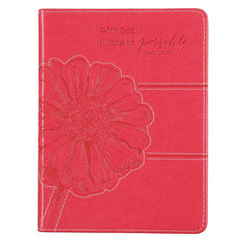 Journal - With God All Things Are Possible, Pink Faux Leather Handy-Size