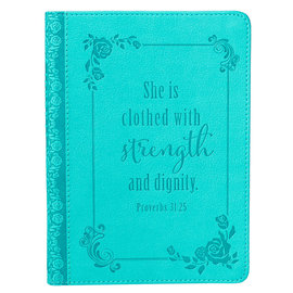 Journal - Strength and Dignity, Turquoise Faux Leather Handy-Size