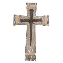 Wall Cross - Wood with Nails and Star, 15.5""