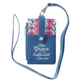 ID Card Holder - His Grace is Sufficient, with Lanyard