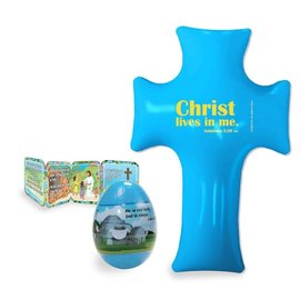 Blue Easter Egg w/ Mini-Book and Inflatable Cross
