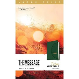 The Message Large Print Deluxe Gift Bible, Forest Green Leathersoft