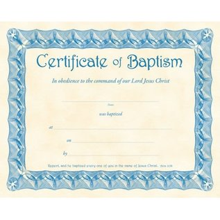 Certificate - Baptism (Acts 2:38) (Blue Parchment) (Pack Of 6)