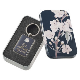 Keychain - It is Well, Navy in Tin