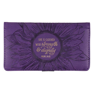 Checkbook Cover - Strength and Dignity, Purple