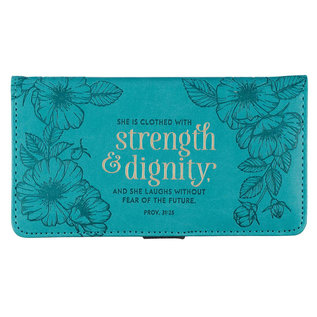 Checkbook Cover - Strength and Dignity, Turquoise