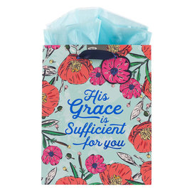 Gift Bag - His Grace is Sufficient, Floral, Medium