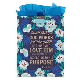 Gift Bag - God Works for Good, Floral Medium