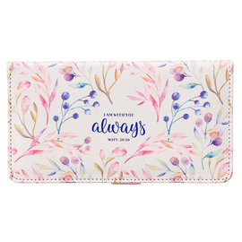 Checkbook Cover - I Am With You Always, Pink Floral