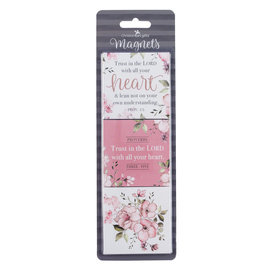 Magnet Set - Trust in the Lord, Pink Floral