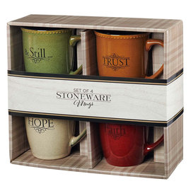 Mug Set - Faith, Hope, Trust & Be Still, Set of 4