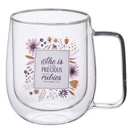 Mug - She is More Precious than Rubies, Clear Glass